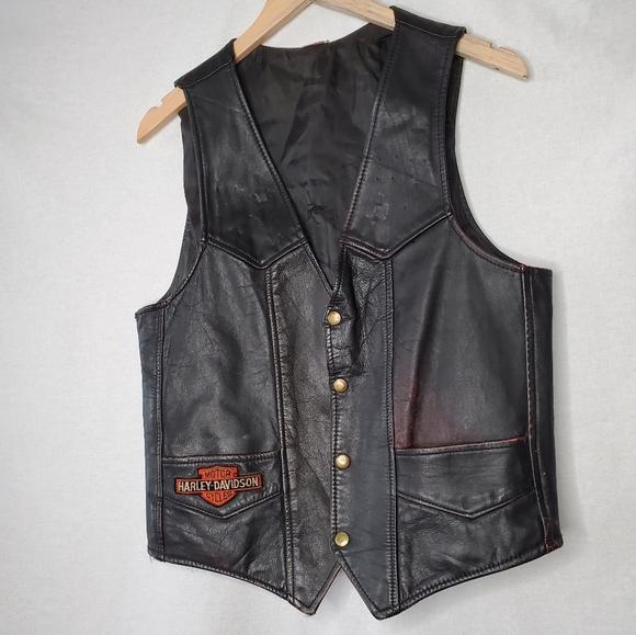 Vintage Harley Davidson Leather Moto Jacket Vest